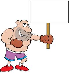 Cartoon boxer holding a sign vector