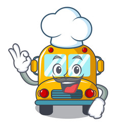 chef school bus character cartoon vector image