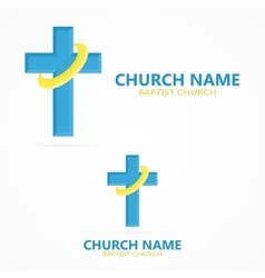 Christian cross church logo vector