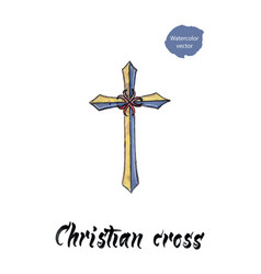 Christian cross watercolor vector