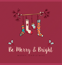 Christmas sock decoration cute cartoon decoration vector