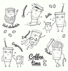 Coffee time sketch style characters vector