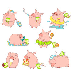 Collection of cute pigs vector