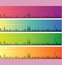 Cologne multiple color gradient skyline banner vector