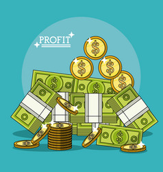 Colorful poster with profit stack banknotes and vector
