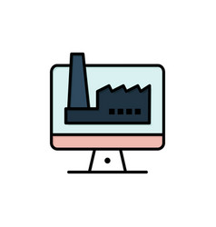 Computer building monitor factory flat color icon vector