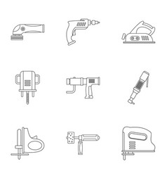 Construction tool icon set outline style vector