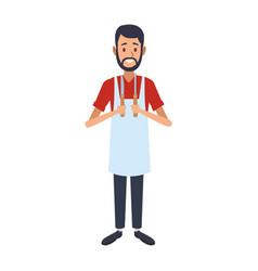 Cooker man with utensils vector