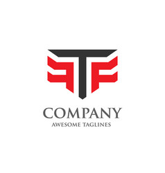 creative letter t and f logo vector image