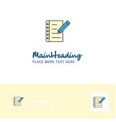 creative writing on notes logo design flat color vector image
