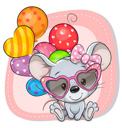 Cute cartoon mouse with balloons vector
