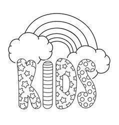 cute kids word with rainbow vector image