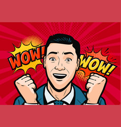 Delighted man or businessman retro comic pop art vector