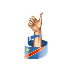 Democratic republic congo flag and hand on vector