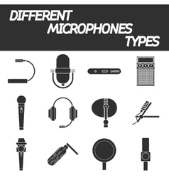 Different microphones types icons set vector