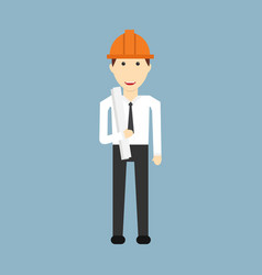 engineer cartoon with civil engineering vector image