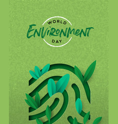 Environment day card green cutout finger print vector