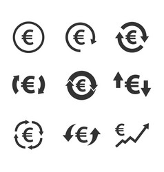 euro exchange icon set currency convert finance vector image