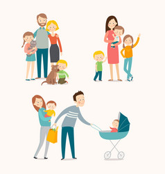 family and kids vector image
