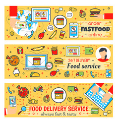 Fast food delivery banners vector