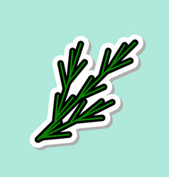 fennel sticker on blue background colorful vector image