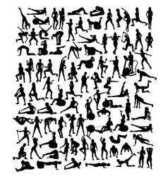 fitness and gym sport silhouettes vector image