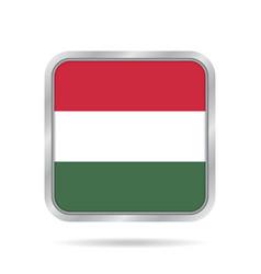 flag of hungary shiny metallic gray square button vector image