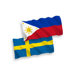 Flags sweden and philippines on a white vector