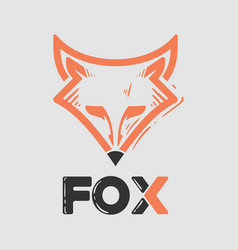 fox logo with a classic style vector image