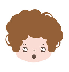 Full color boy head with curly hair and scared vector