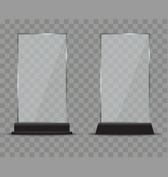 Glass plate set on transparent background plastic vector