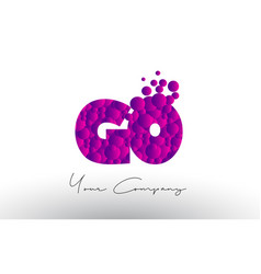 go g o dots letter logo with purple bubbles vector image