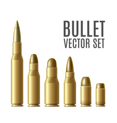 Gold metal bullet set isolated on white background vector