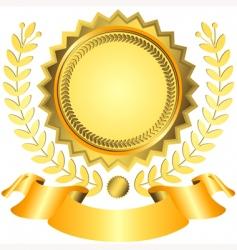 Golden award with ribbon vector