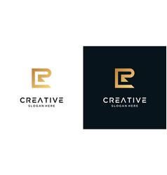 Golden letter r logo design template vector