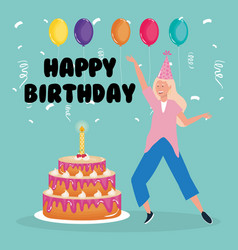 happy birthday woman dancing with cake and vector image