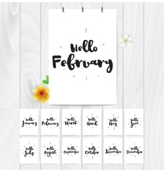 Hello month 12 cards hand drawn design vector