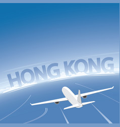 Hong kong skyline flight destination vector
