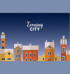 horizontal banner template with evening winter vector image