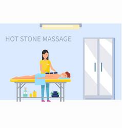 Hot stone massage on male back masseuse vector