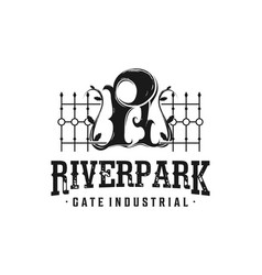 Iron fence logo with initial r fence for river vector