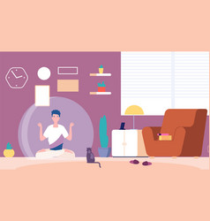 Isolated man introvert at home mental calm vector