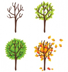 Isolated trees seasonal vector set vector