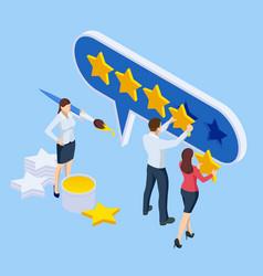 isometric customer review or feedback concept vector image