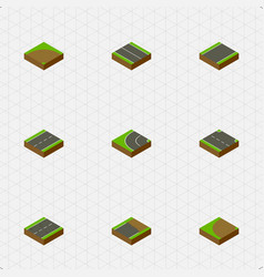 Isometric road set of driveway unfinished vector