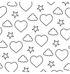 line heart and cloud with bright star background vector image