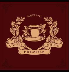 logo coffee shop premium badge vector image