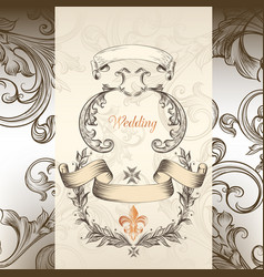 Luxury wedding invitation in victorian style vector