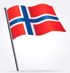 Norwegian flag waving on flagpole vector