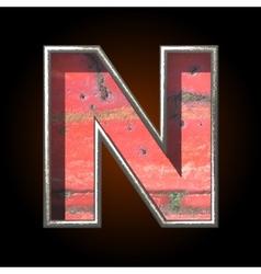 Old metal letter n vector